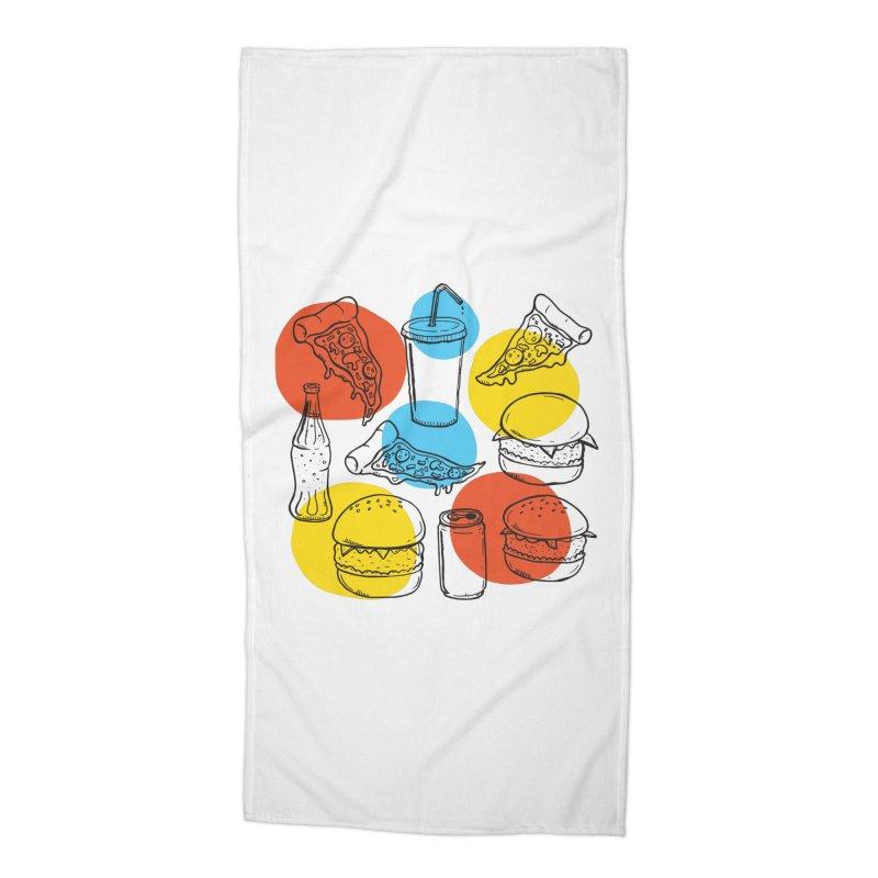 Fast Food Accessories Beach Towel by John D-C's Artist Shop