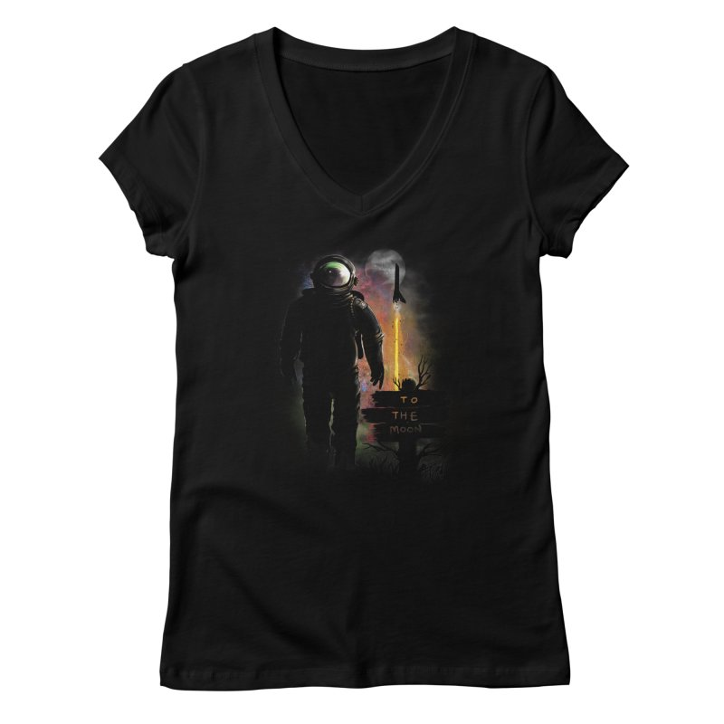 To the Moon Women's V-Neck by JP$ Artist Shop