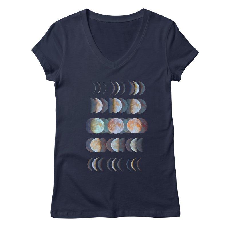 Moon phase Women's V-Neck by JP$ Artist Shop