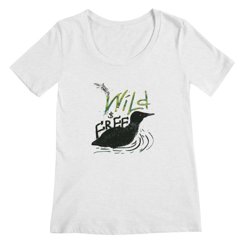 Wild $ Free Women's Scoopneck by JP$ Artist Shop