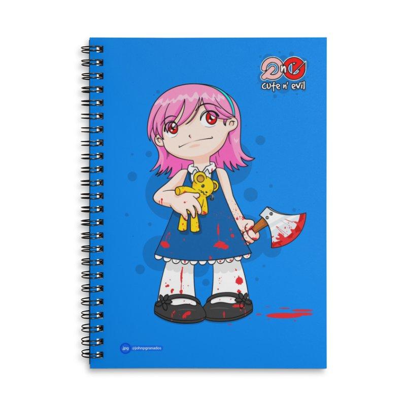ax - cute n' evil Accessories Lined Spiral Notebook by Juan Pablo Granados - .jpg