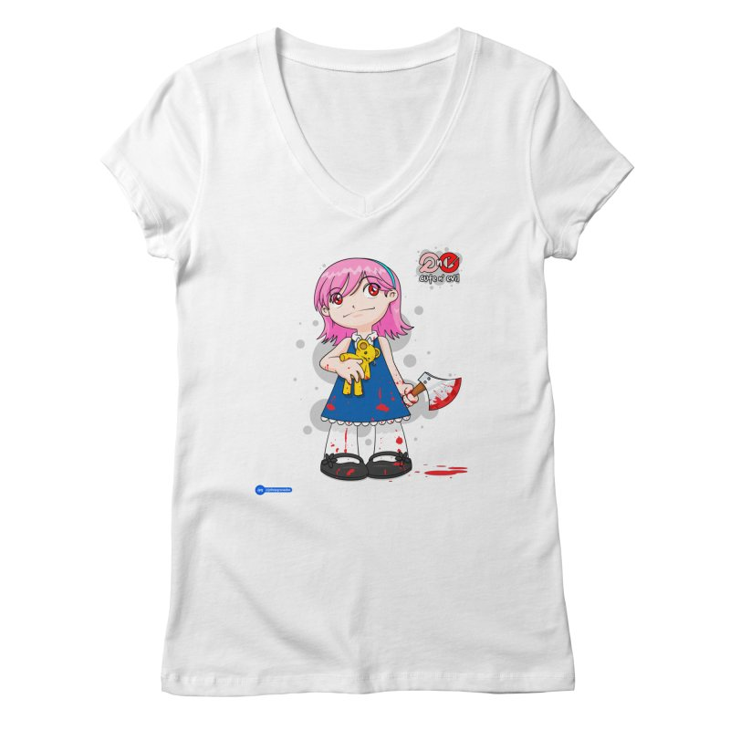 ax - cute n' evil Women's Regular V-Neck by Juan Pablo Granados - .jpg