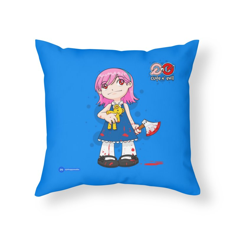 ax - cute n' evil Home Throw Pillow by Juan Pablo Granados - .jpg