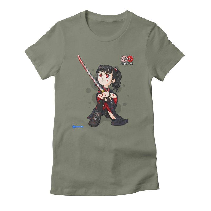 katana - cute n' evil Women's Fitted T-Shirt by Juan Pablo Granados - .jpg