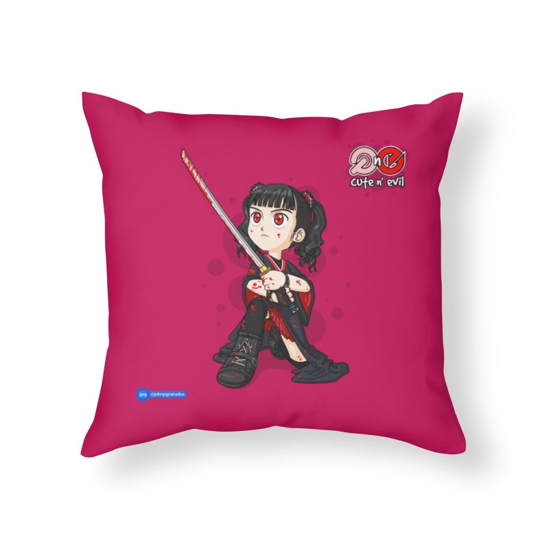 katana - cute n' evil Home Throw Pillow by Juan Pablo Granados - .jpg