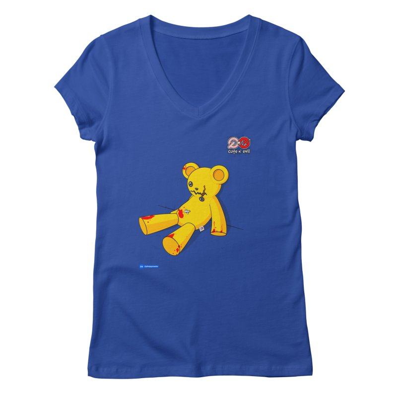 teddy - cute n' evil Women's Regular V-Neck by Juan Pablo Granados - .jpg
