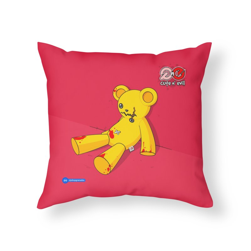 teddy - cute n' evil Home Throw Pillow by Juan Pablo Granados - .jpg