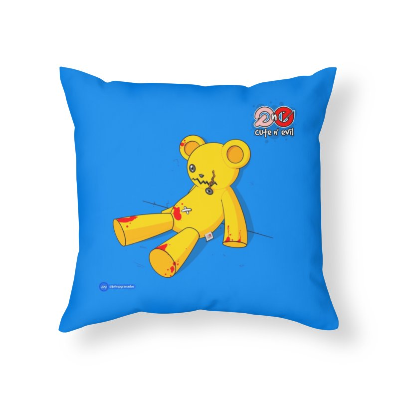 teddy - cute n' evil Home Throw Pillow by Juan Pablo Granados - .jpg
