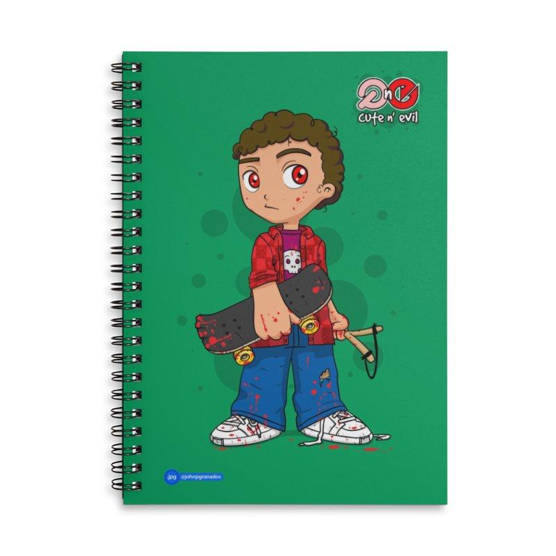 skateboard - cute n' evil Accessories Lined Spiral Notebook by Juan Pablo Granados - .jpg