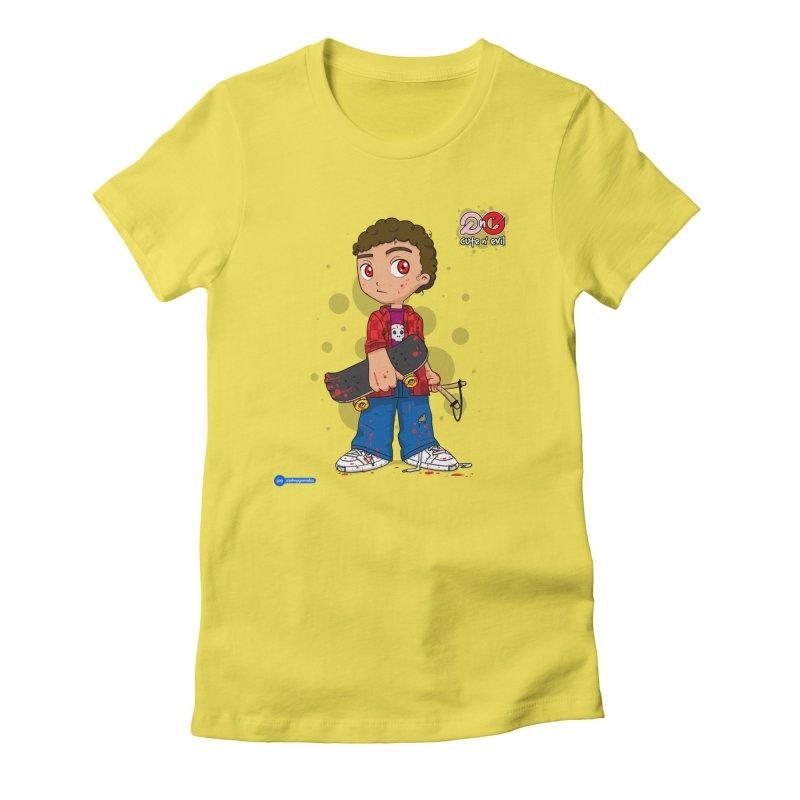 skateboard - cute n' evil Women's Fitted T-Shirt by Juan Pablo Granados - .jpg