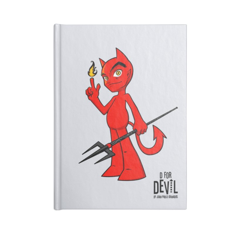 D for Devil - flame Accessories Blank Journal Notebook by Juan Pablo Granados - .jpg