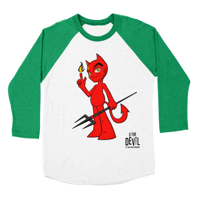 D for Devil - flame Men's Baseball Triblend T-Shirt by Juan Pablo Granados - .jpg