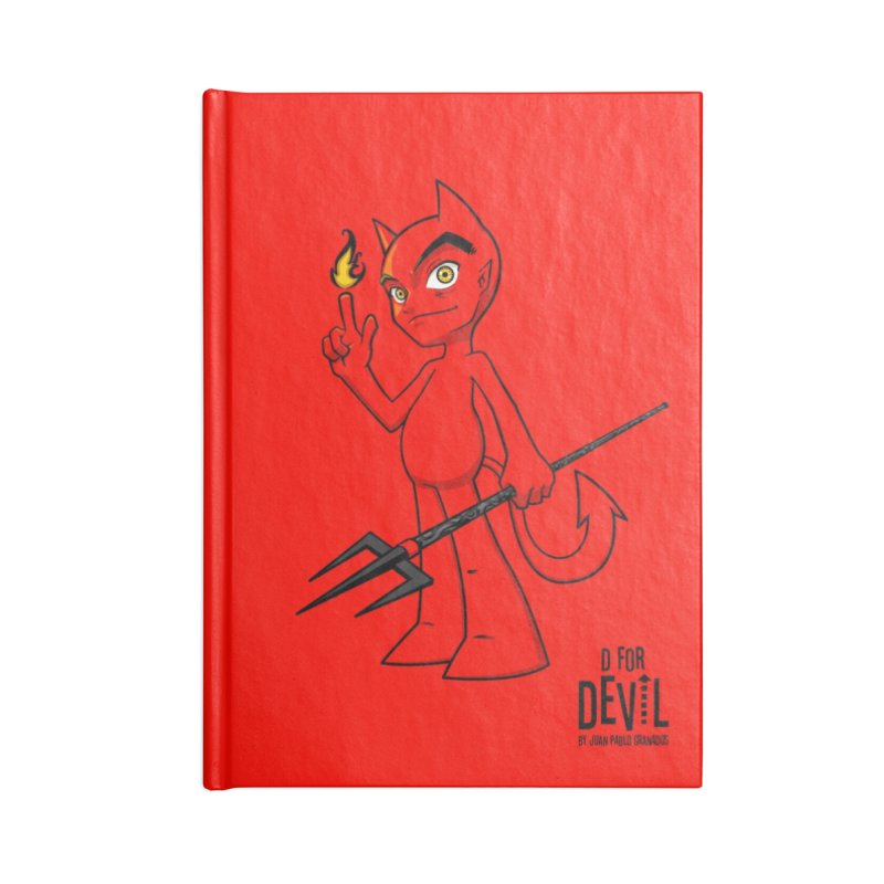 D for Devil - flame [RED colors & accessories] Accessories Blank Journal Notebook by Juan Pablo Granados - .jpg