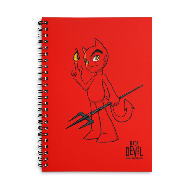 D for Devil - flame [RED colors & accessories] Accessories Lined Spiral Notebook by Juan Pablo Granados - .jpg