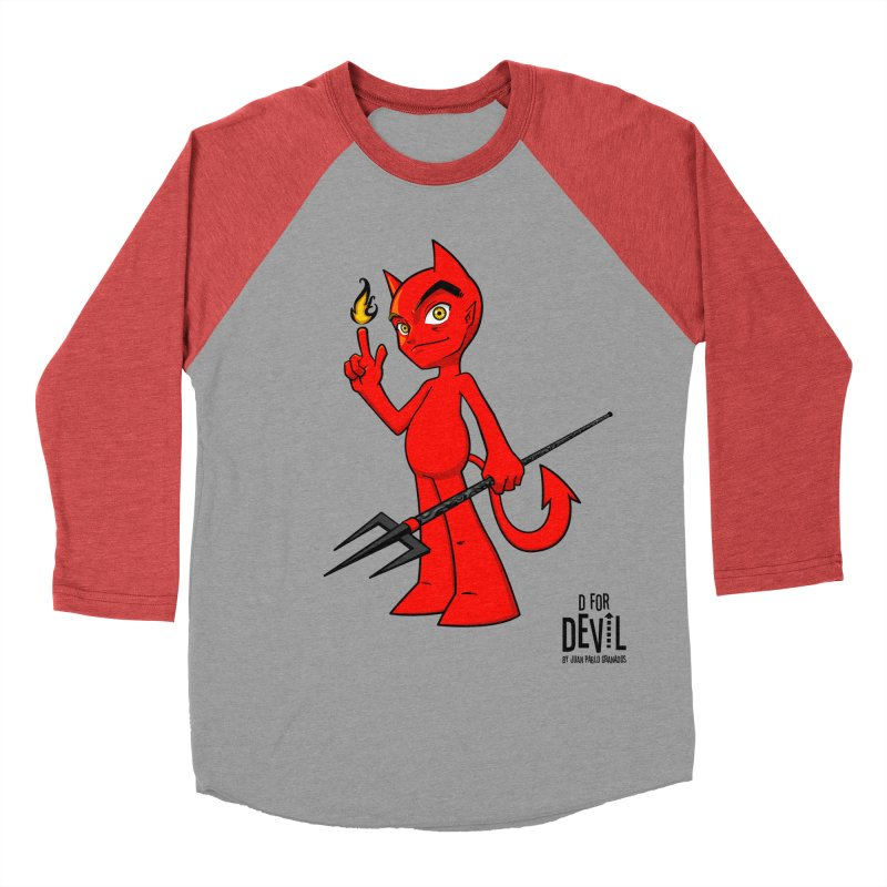 D for Devil - flame [RED colors & accessories] Men's Baseball Triblend Longsleeve T-Shirt by Juan Pablo Granados - .jpg