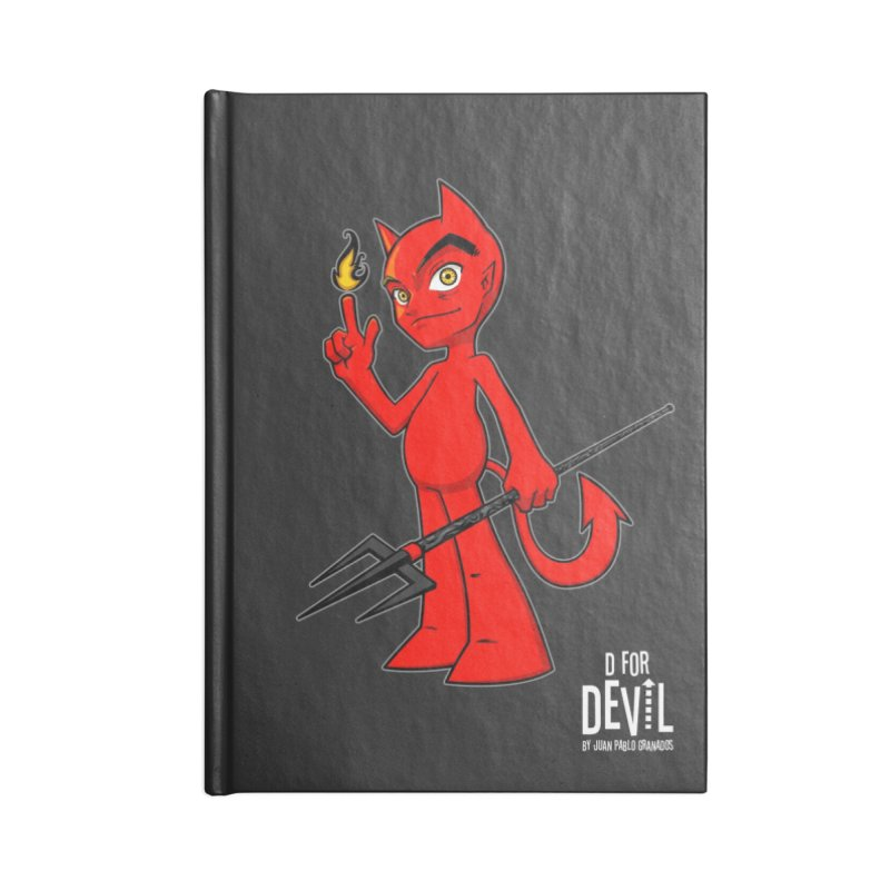 D for Devil - flame [DARK colors & accessories] Accessories Blank Journal Notebook by Juan Pablo Granados - .jpg