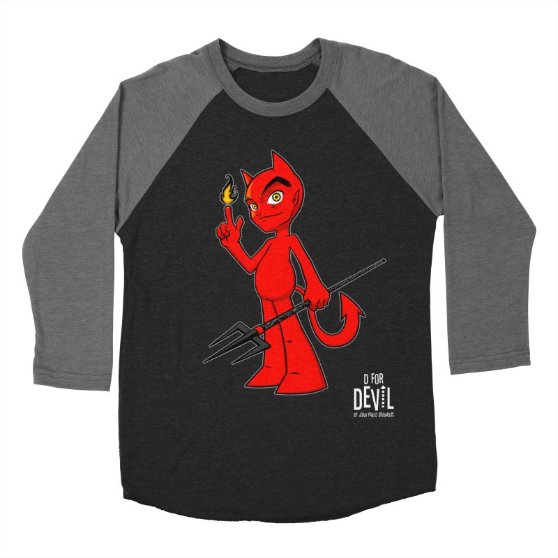 D for Devil - flame [DARK colors & accessories] Women's Baseball Triblend Longsleeve T-Shirt by Juan Pablo Granados - .jpg