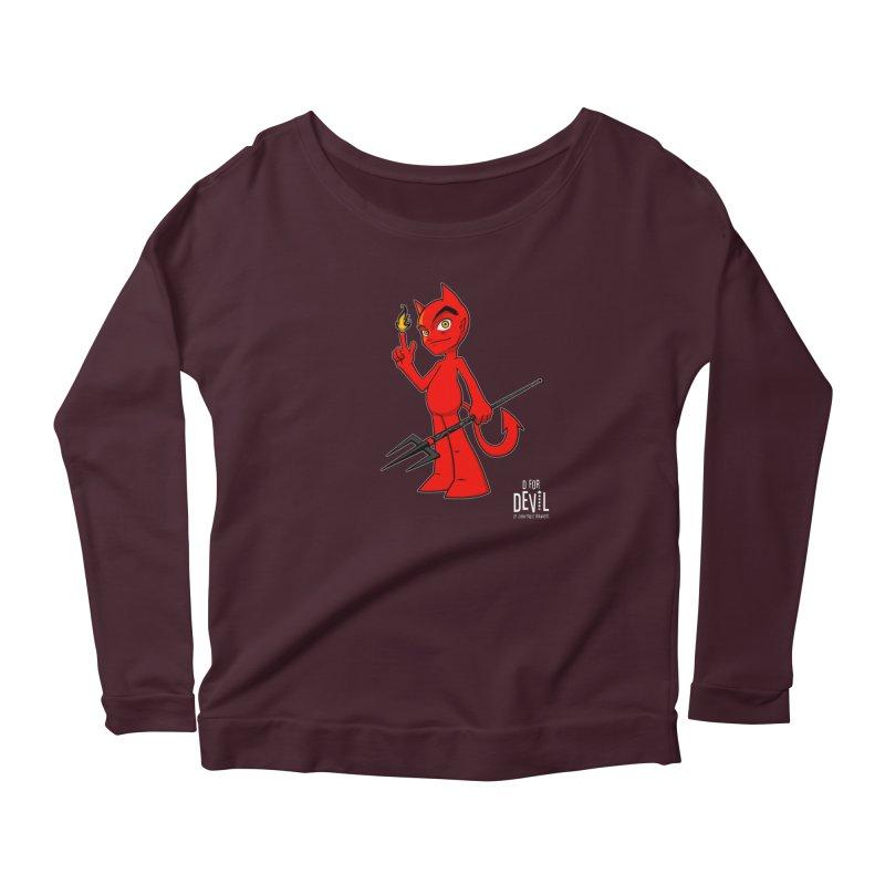 D for Devil - flame [DARK colors & accessories] Women's Scoop Neck Longsleeve T-Shirt by Juan Pablo Granados - .jpg