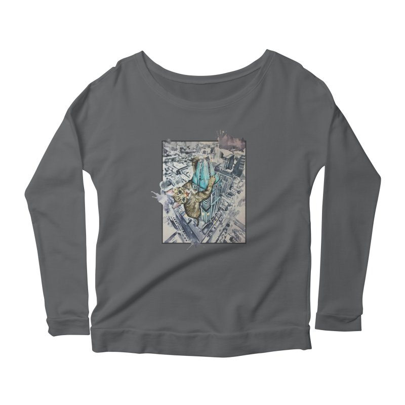 KITTY KONG (ATX) Women's Longsleeve Scoopneck  by jojostudio's Artist Shop