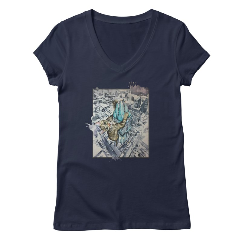 KITTY KONG (ATX) Women's V-Neck by jojostudio's Artist Shop
