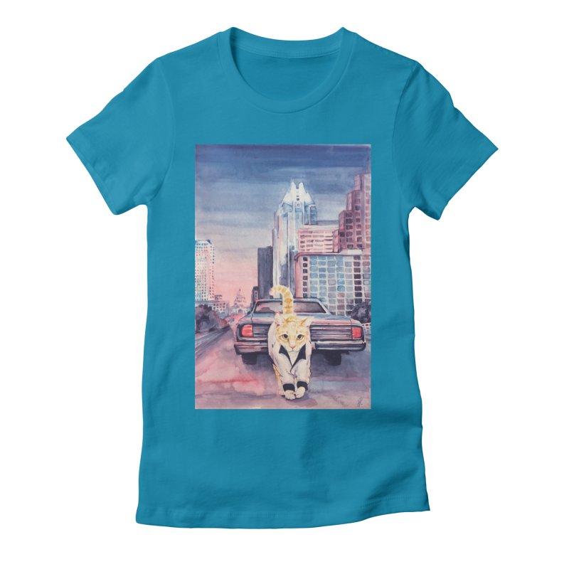 DRIVE (kitty) Women's Fitted T-Shirt by jojostudio's Artist Shop