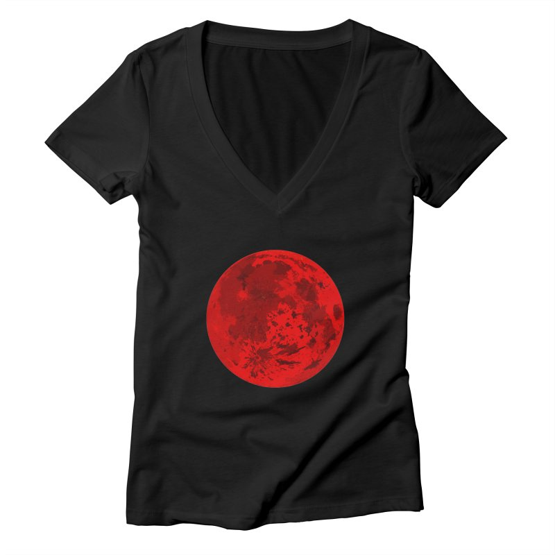 Blood Moon Women's V-Neck by jokertoons's Artist Shop
