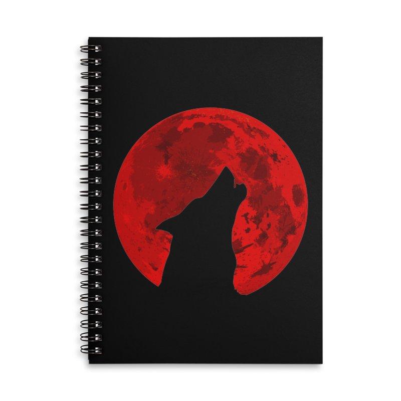 Howling Wolf Blood Moon Accessories Notebook by jokertoons's Artist Shop