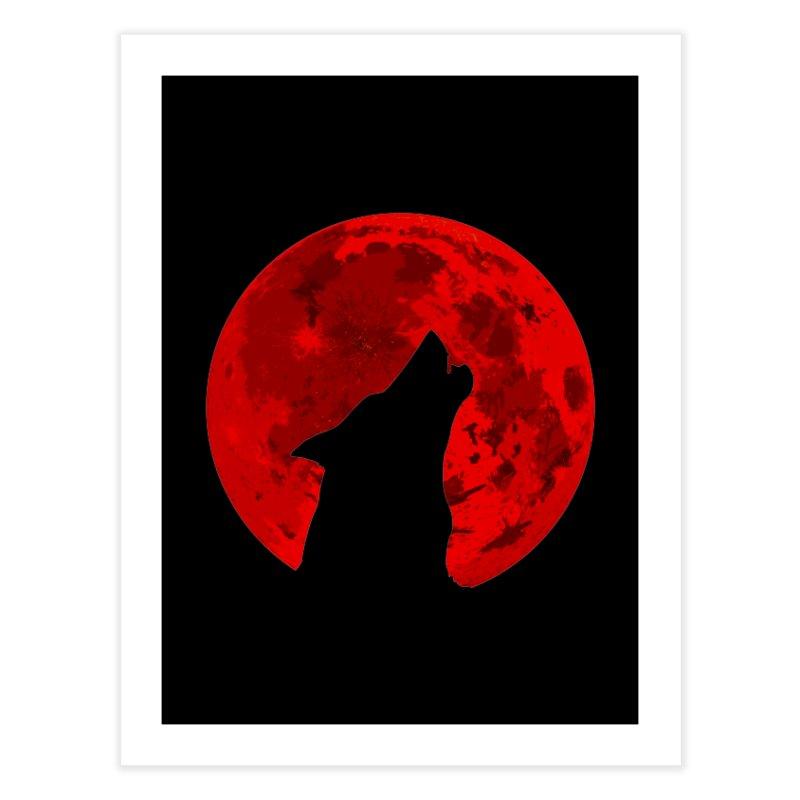Howling Wolf Blood Moon Home Fine Art Print by jokertoons's Artist Shop