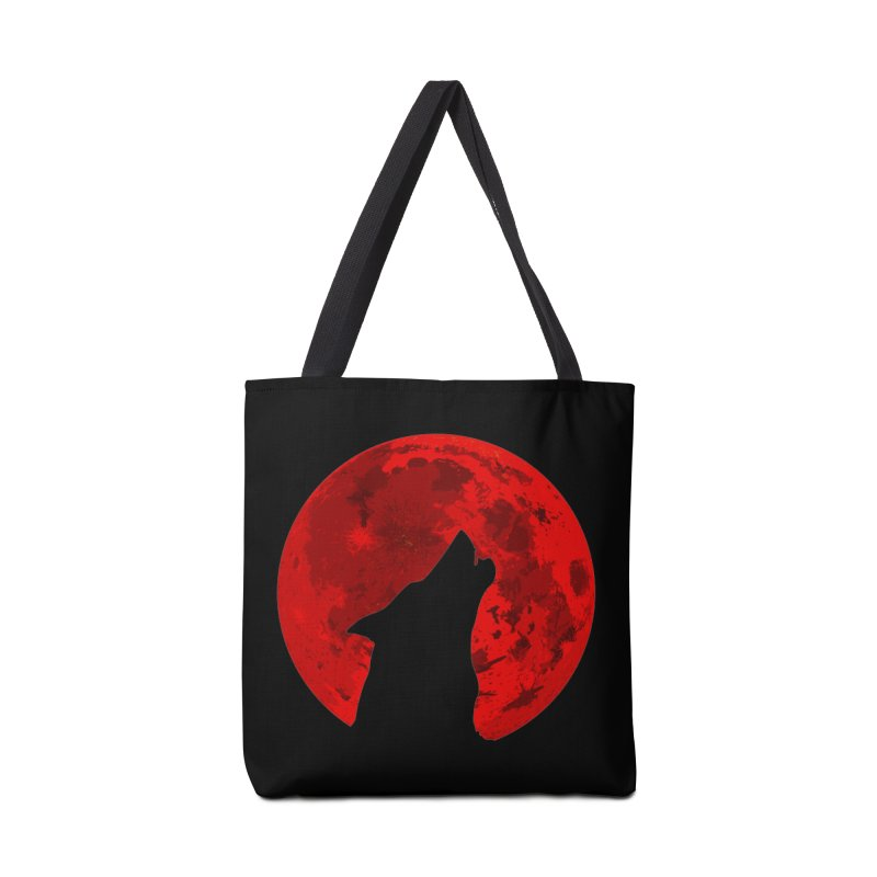 Howling Wolf Blood Moon Accessories Bag by jokertoons's Artist Shop