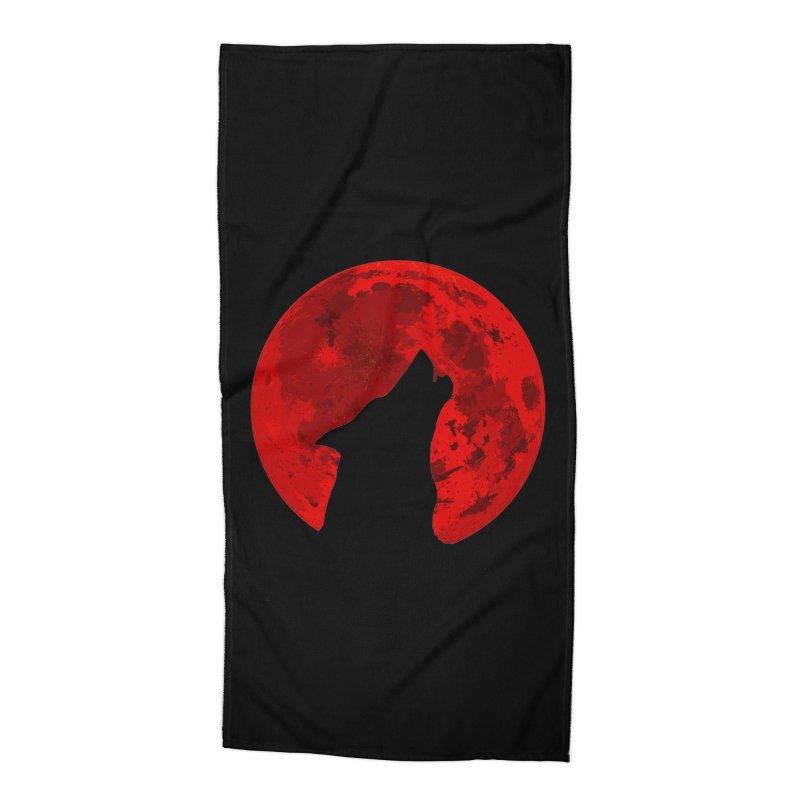 Howling Wolf Blood Moon Accessories Beach Towel by jokertoons's Artist Shop