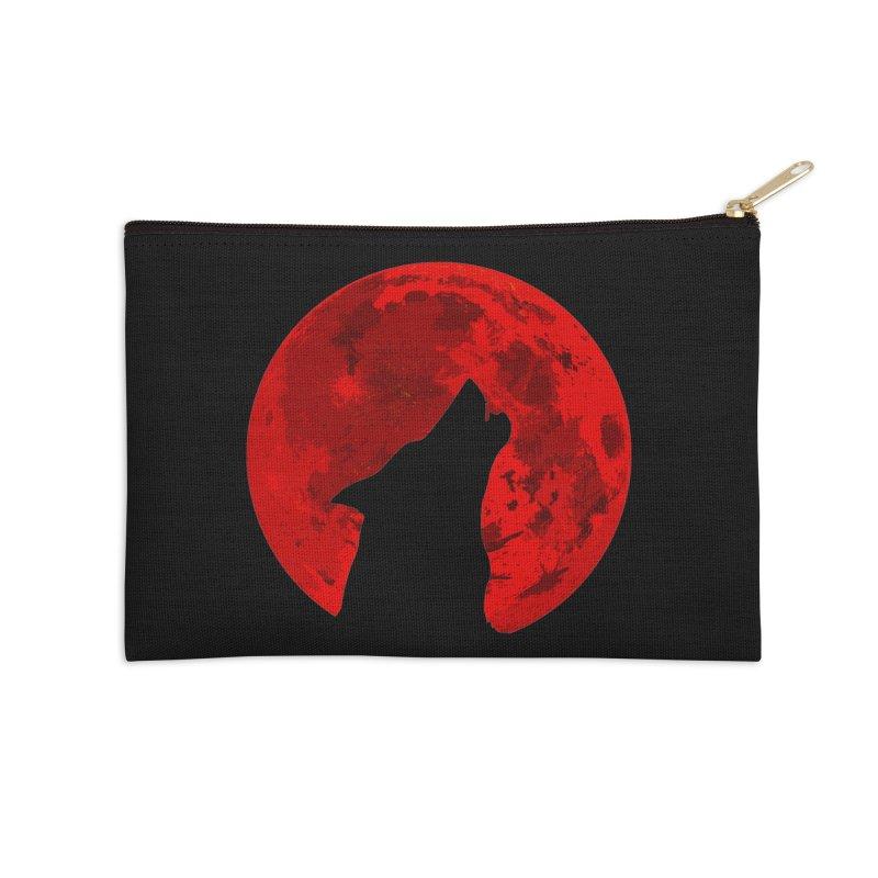 Howling Wolf Blood Moon Accessories Zip Pouch by jokertoons's Artist Shop