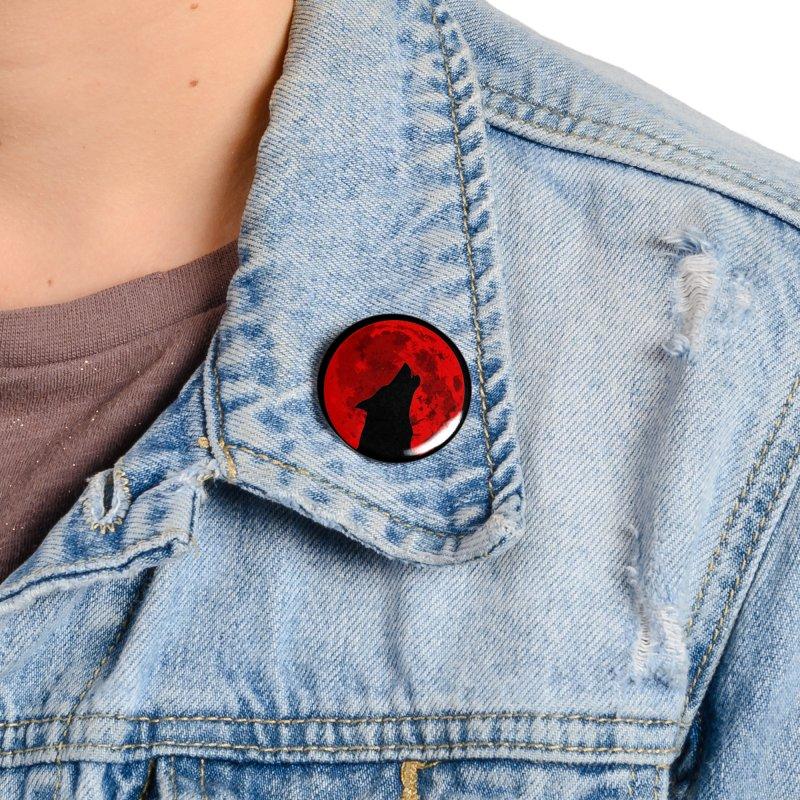 Howling Wolf Blood Moon Accessories Button by jokertoons's Artist Shop