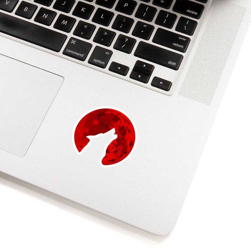 Howling Wolf Blood Moon Accessories Sticker by jokertoons's Artist Shop