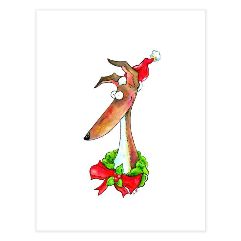 Christmas Hound Home Fine Art Print by jokertoons's Artist Shop