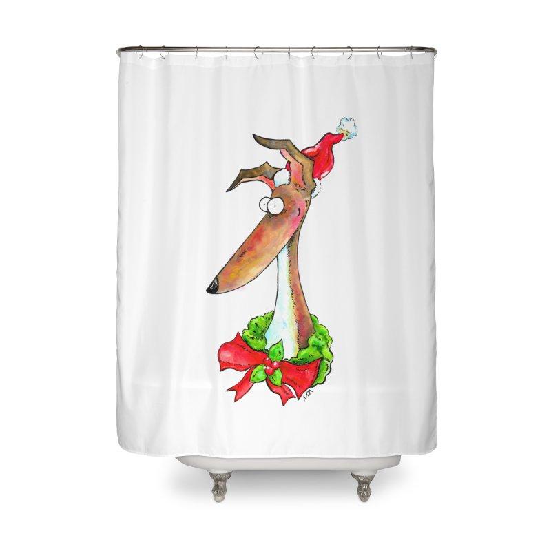 Christmas Hound Home Shower Curtain by jokertoons's Artist Shop