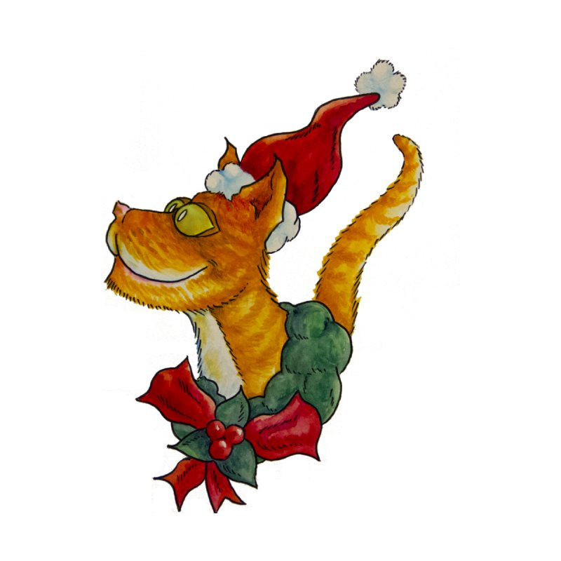 Christmas Cat Men's T-Shirt by jokertoons's Artist Shop