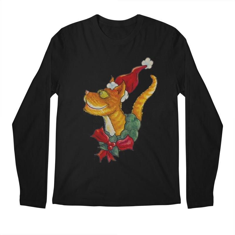 Christmas Cat Men's Longsleeve T-Shirt by jokertoons's Artist Shop