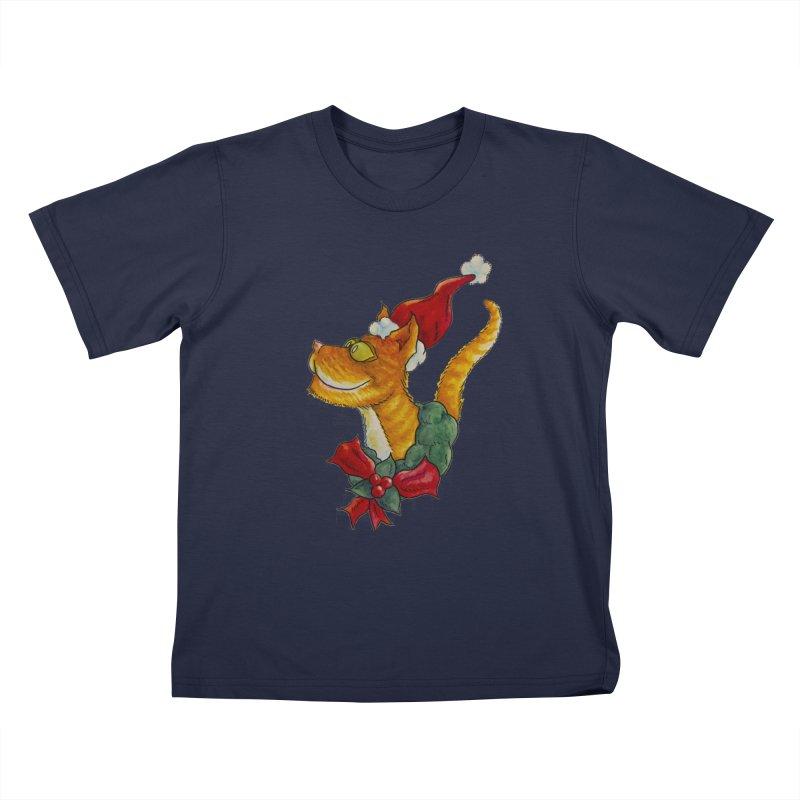 Christmas Cat Kids T-Shirt by jokertoons's Artist Shop