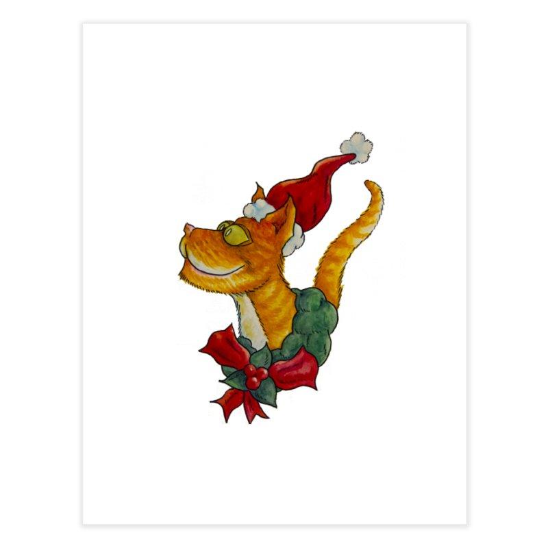 Christmas Cat Home Fine Art Print by jokertoons's Artist Shop