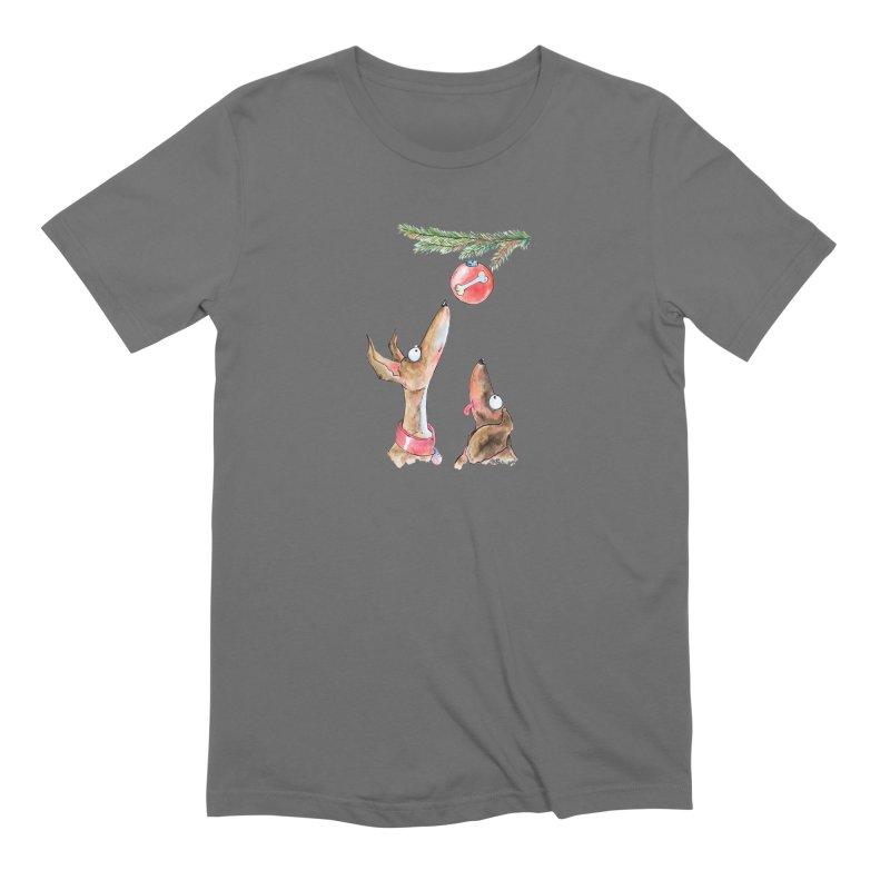 Waiting Christmas Dogs Men's T-Shirt by jokertoons's Artist Shop