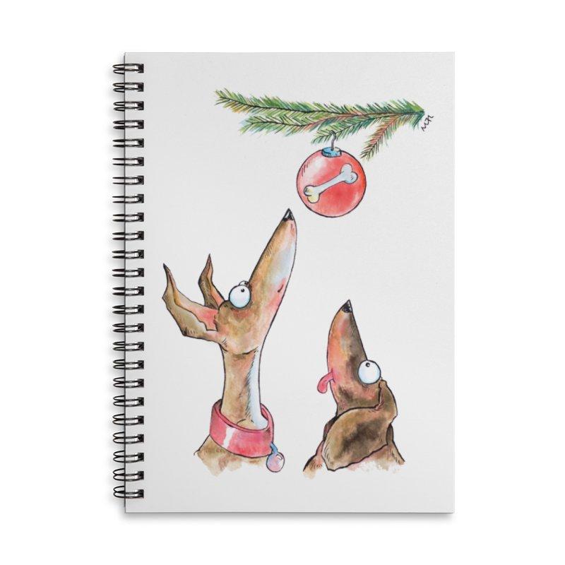 Waiting Christmas Dogs Accessories Notebook by jokertoons's Artist Shop