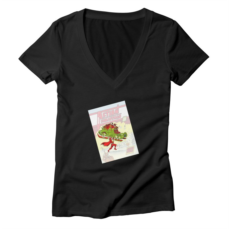Action Christmas -  Super Mr Santa! Women's V-Neck by jokertoons's Artist Shop