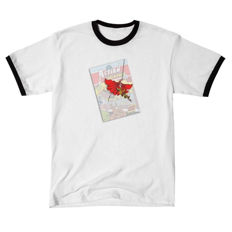 Action Christmas - Sky Santa Pop! Men's T-Shirt by jokertoons's Artist Shop