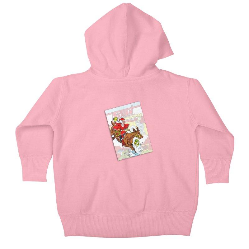 Action Christmas - Super Mrs Santa Pop! Kids Baby Zip-Up Hoody by jokertoons's Artist Shop