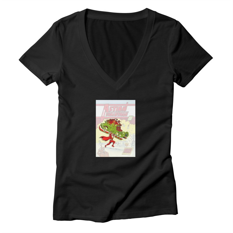 Action Christmas Super Santa! Women's V-Neck by jokertoons's Artist Shop