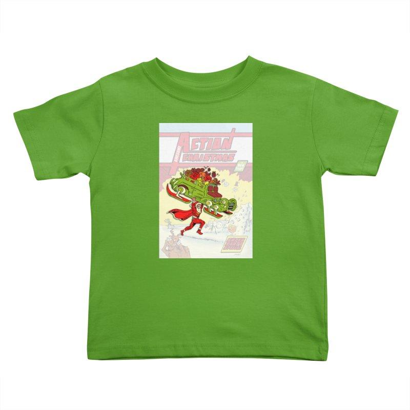 Action Christmas Super Santa! Kids Toddler T-Shirt by jokertoons's Artist Shop