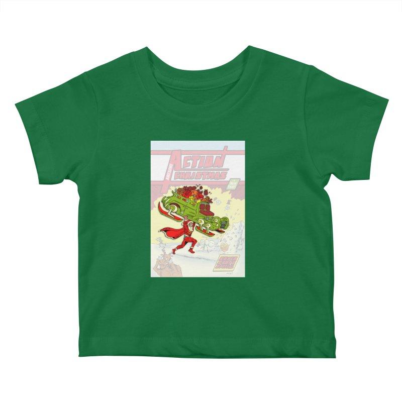 Action Christmas Super Santa! Kids Baby T-Shirt by jokertoons's Artist Shop