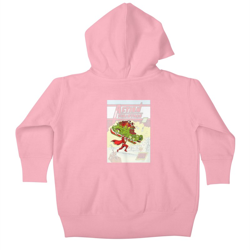 Action Christmas Super Santa! Kids Baby Zip-Up Hoody by jokertoons's Artist Shop