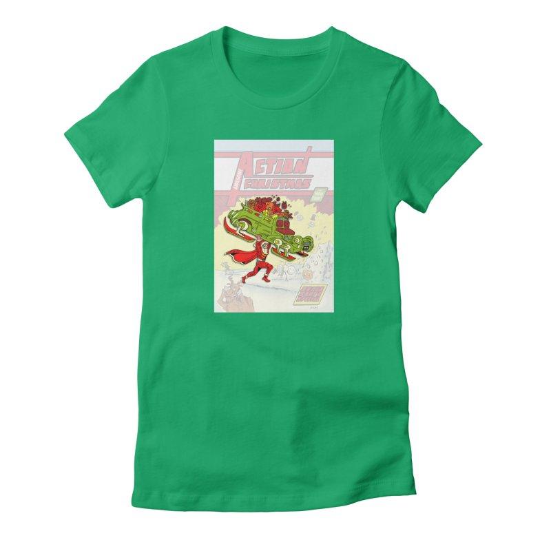 Action Christmas Super Santa! Women's T-Shirt by jokertoons's Artist Shop
