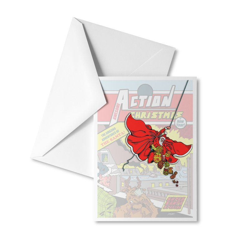 Action Christmas Sky Santa! Accessories Greeting Card by jokertoons's Artist Shop